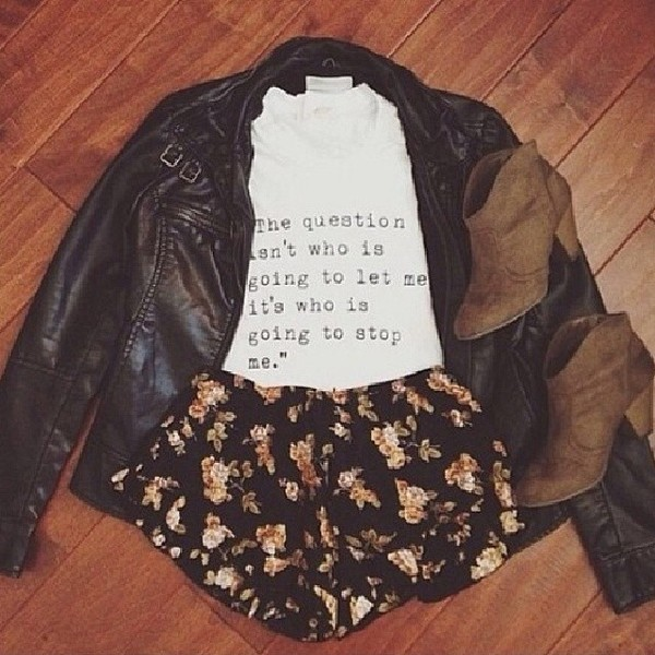 jacket t-shirt shorts shirt