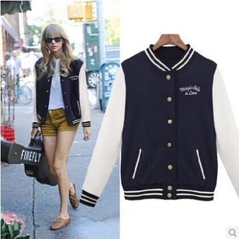 Autumn and winter letter m varsity jacket long sleeve baseball jacket coat sportwear for women with a dot hoody s,m,l,xl,xxl