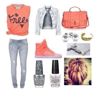 shoes clothes bag shirt nail polish jewels peach free birds t-shirt blogger jacket denim jacket jewelry pink crop tops blouse bralette jeans leggings tank top polyvore veste sac chaussures collier