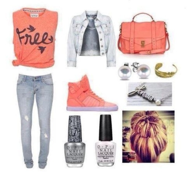 shoes clothes bag shirt nail polish jewels peach free birds t-shirt blogger jacket blogger denim jacket jewelry pink crop tops blouse bralette jeans leggings tank top polyvore tank top veste sac chaussures jeans collier