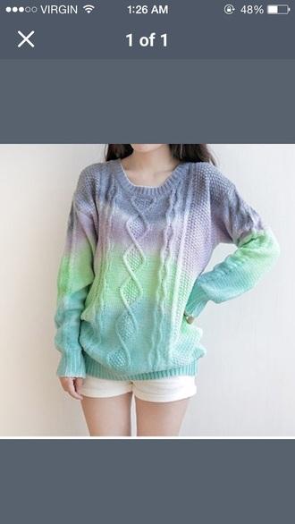 sweater tye dye tumblr outfit tumblr sweater tumblr girl tumblr clothes green purple
