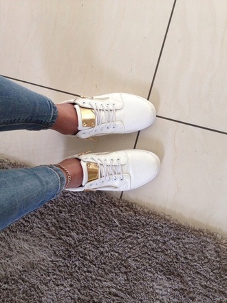shoes white gold sneakers jeans white shoes sexy