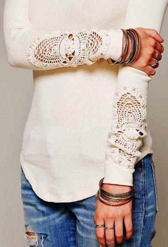 sweater lace white sweater shirt lace shirt