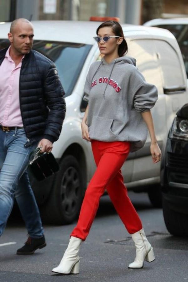 sweater hoodie grey pants boots model off-duty bella hadid streetstyle london fashion week 2017 fashion week 2017 shoes