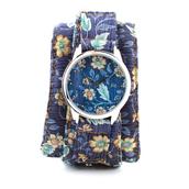 jewels,watch,cotton strap,soft watch,floral,blue,floral watch,unusual watch,unique watch,designer watch,beautiful watch,ziziztime,ziz watch