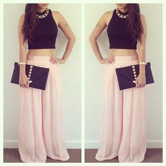 pants chiffon skirt pink