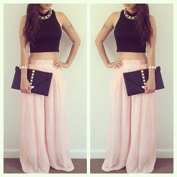 Women's Casual Long Wide Leg Pants Chiffon Skirt Pants Fashion ...