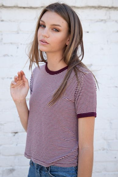 t-shirt stripes striped shirt red 90's maroon
