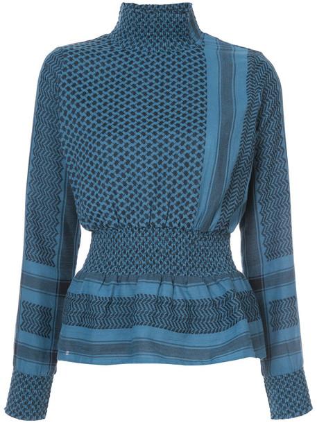 CECILIE COPENHAGEN top high women high neck cotton blue