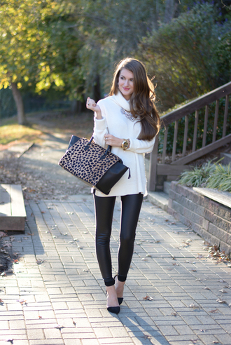 southern curls and pearls blogger bag sunglasses fall outfits sweater shoes leggings jewels make-up
