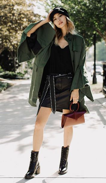 jacket ankle boots skirt mini skirt top blogger fall outfits belt