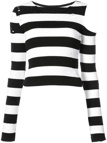 Amiri - shoulderless striped top - women - Cotton/Cashmere - XS, Cotton/Cashmere