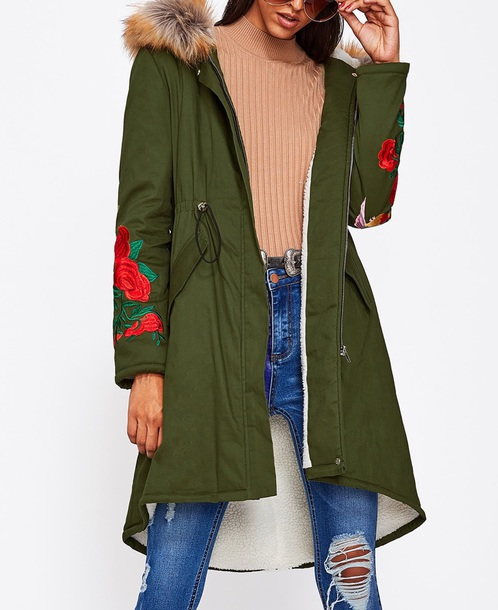 coat olive green girly parka womens parka fur fur coat