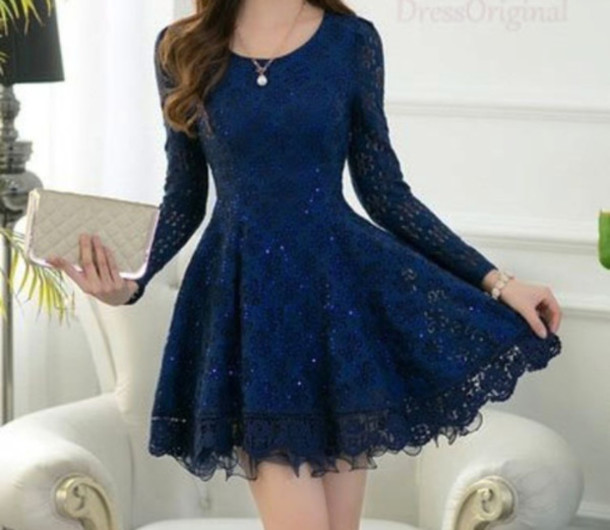 9ec10722b3b dark blue cute dress summer dress dress blue dress blue navy navy dress  lace dress lace