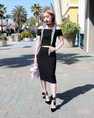 style2bones blogger top skirt sweater bag shoes