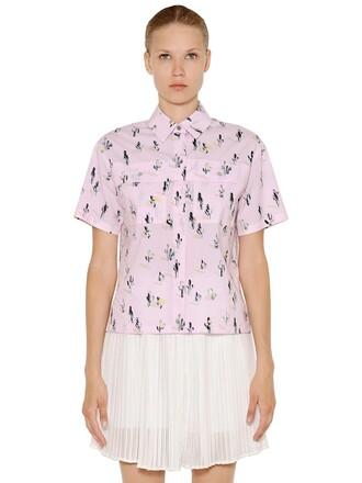 shirt cactus cotton print light pink light pink top