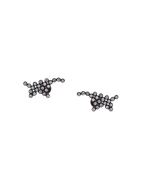 Yannis Sergakis rose gold rose women earrings stud earrings gold black grey metallic jewels