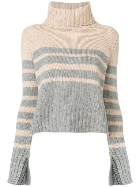 Drumohr jumper women wool knit grey sweater