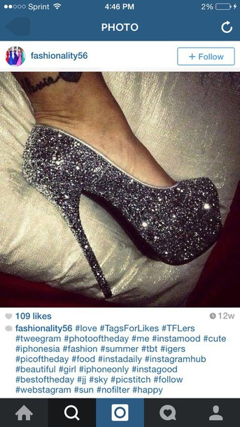 shoes black heels glitter heels
