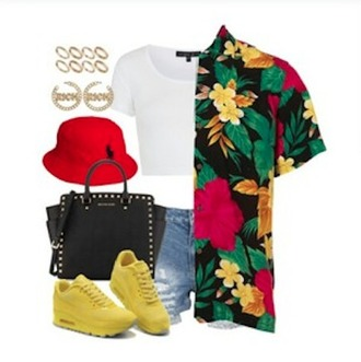 t-shirt shirt hawaiian hawaiian shirt shorts denim shoes sneakers purse bag black bag yellow red hat top cropped white top gold earrings earrings jewels polo bucket hat style clothes polyvore sets short colorful yellow shoes ootd ripped shorts yellow nikes nike air nike shoes bucket hat red bucket hat polo ralph lauren homme summer outfits button up tumblr outfit outfit idea shorts