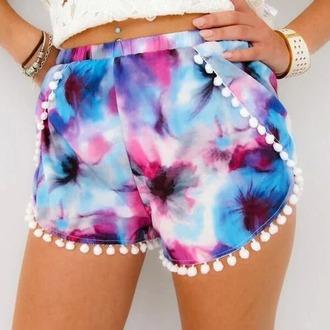 shorts dipdye tye dye tye dye shorts indie boho
