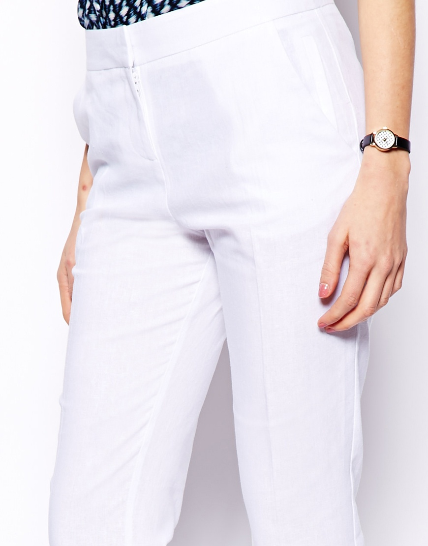 ASOS PETITE Linen Trousers in Straight Leg at asos.com
