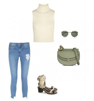 helena bordon blogger turtleneck sleeveless ripped jeans sleeveless top