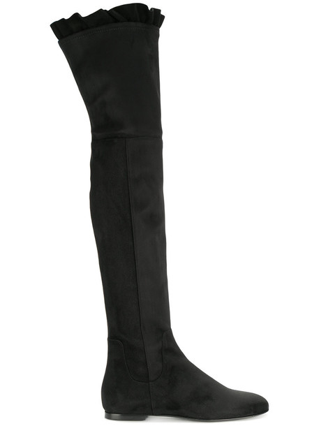Twin-Set high women thigh high boots leather black velvet shoes