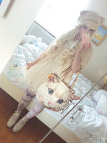 bag cats cats cats white cat cat bag kawaii big purse cute lovely cream