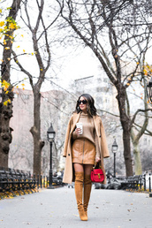 wendy's,lookbook,blogger,fall outfits,thigh high boots,beige coat,leather skirt,beige sweater,fall colors,nude,all nude everything,suede boots,monochrome outfit