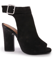 shoes,black,suede,ankle strap,booties,peep toe,perforated