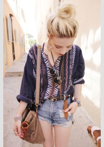 shirt simple aztec loose easy fun elbow length navy blue