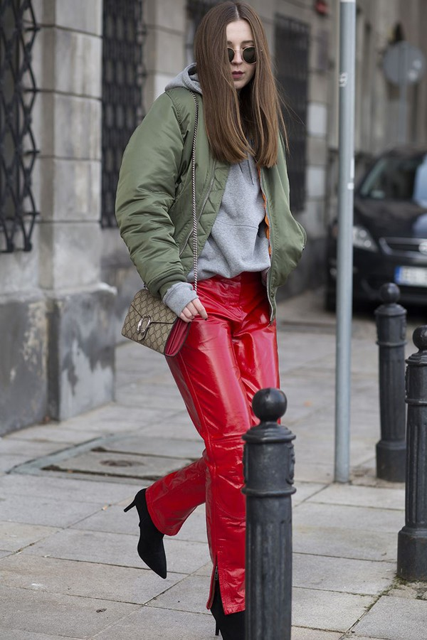 Pants Tumblr Vinyl Red Pants Leather Pants Jacket