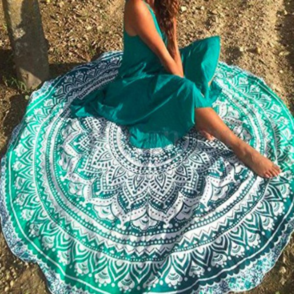 home accessory beach towel blanket boho chic tribal pattern gypsy hippie festival holidays teal white turquoise