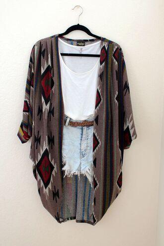 cardigan shorts black shirt red hipster tank top belt fashion indie burgundy rusty brown beige hanger cute hippie hippie chic boho white tank top sweater tribal pattern aztec fall sweater
