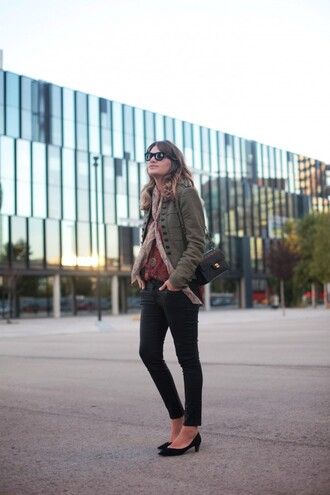 my daily style blogger jacket blouse scarf bag sunglasses khaki military style