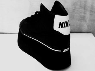 shoes platform shoes nike black goth