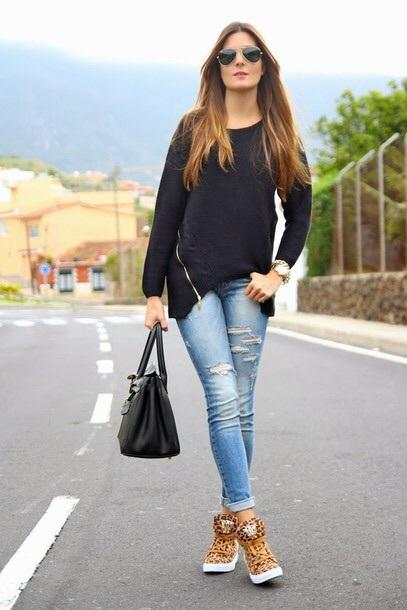 sweater black sweater side zipper