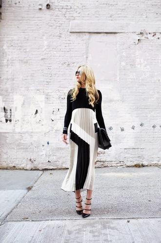 atlantic pacific blogger sunglasses pleated dress black heels satchel bag geometric