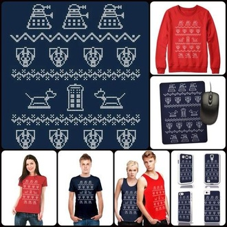 fashion doctor who dalek christmas sweater red sweater red blue tvshow cozy sweater whovian