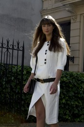 dress,tumblr,midi dress,white dress,slit dress,belt,gucci,gucci belts,gucci belt,bag