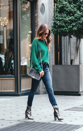 shoes,green sweater,tumblr,boots,ankle boots,silver boots,high heels,jeans,denim,blue jeans,sweater,bag