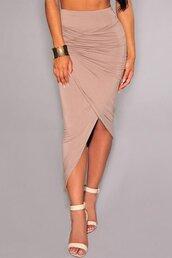 skirt,bodycon skirt,drapped skirt,asymmetrical skirt,asymmetrical,drapped,slit,slit skirt,front slit skirt,khaki,beige,black,sexy skirt,sexy,bodycon,tight,casual skirt,party skirt,long skirt,maxi skirt,ankle skirt,folded skirt,high waisted,high waist skirt,party outfits,preppy,dress