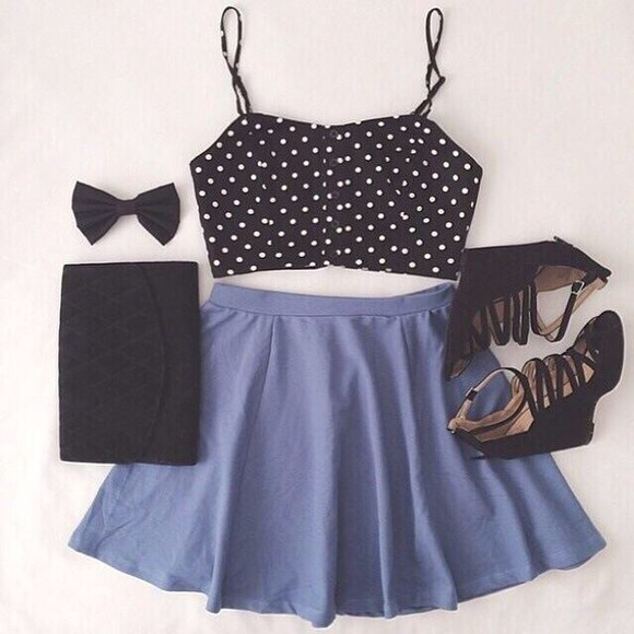 polka dots skirt top too now