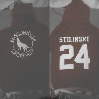 sweater dark red beacon hills lacrosse jersey dylan obrien teen wolf