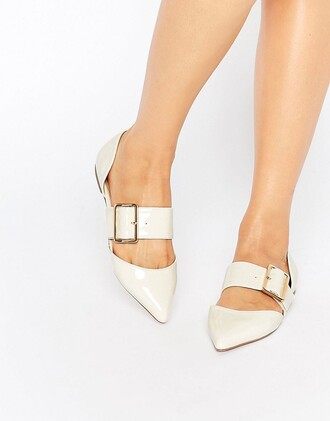 shoes buckles pointed toe pumps patent shoes white shoes