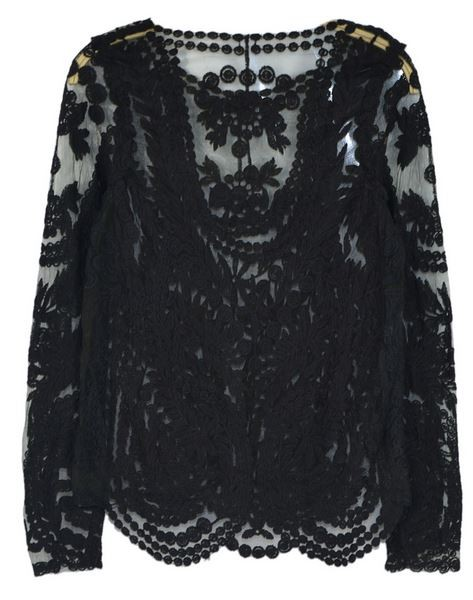 Black Crochet Lace Long Sleeve Top with Mesh Panel