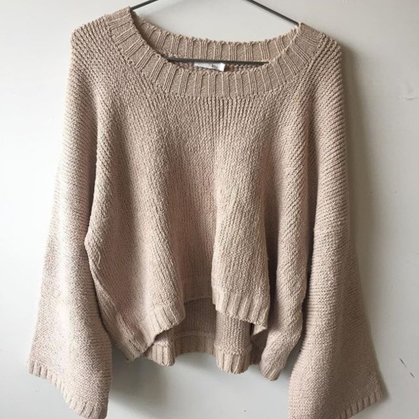 Sweater: tan sweater, beige, beige sweater, crop tops, boho ...