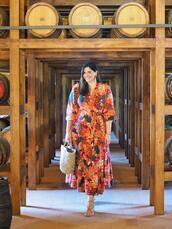 fashion foie gras,blogger,dress,shoes,printed dress,midi dress,basket bag,spring outfits,sandals