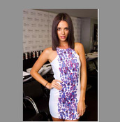 dress,white,purple,pattern,bodycon dress,tight,short,colorful,australias next top model,floral pattern,rough pattern